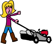 Girl logo with mower