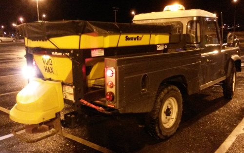 Land Rover Defender with gritter